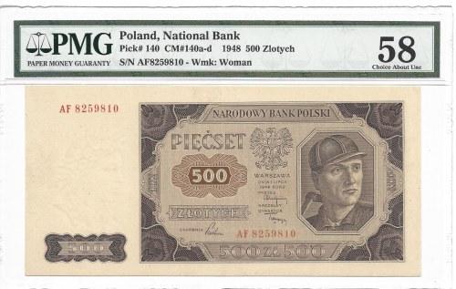 500 złotych 1948 - AF - rzadka seria - PMG 58