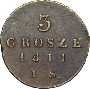 Księstwo Warszawskie- Fryderyk August I - 3 grosze 1811 - IS