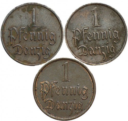Gdańsk - 3 x 1 fenig 1929, 1930,1937 -