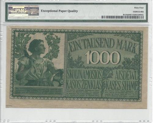 Kowno - 1000 marek 1918 - numeracja 6 cyfrowa - PMG 64 EPQ -