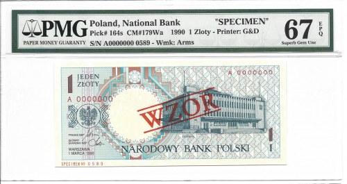 1 złoty 1990 - A - WZÓR / SPECIMEN - PMG 67 EPQ