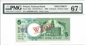 5 złotych 1990 - A - WZÓR / SPECIMEN - PMG 67 EPQ