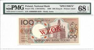 100 złotych 1990 - A - WZÓR / SPECIMEN - PMG 68 EPQ