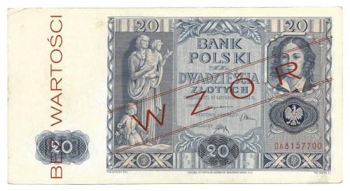 20 złotych 1936 - WZÓR - BEZ WARTOŚCI - fałszywy nadruk