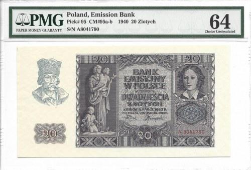 20 złotych 1940 - poszukiwana seria A - PMG 64
