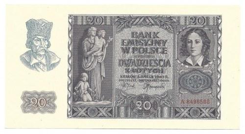 20 złotych 1940 - pierwsza seria A