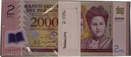 PARAGWAJ - 2000 guaranies 2011 - paczka bankowa 100 sztuk - polimerowy