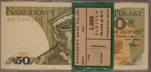 Paczka bankowa - 50 złotych 1988 - HG - 100 sztuk