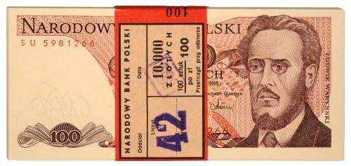 Paczka bankowa - 100 złotych 1988 - SU - 100 sztuk
