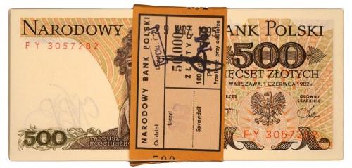 Paczka bankowa - 500 złotych 1982 - FY - 100 sztuk