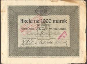 Towarzystwo Akcyjne JUTA w Poznaniu - 1000 marek 1921 -