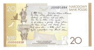 20 złotych 2009 - JS - niski numer seryjny 0000994