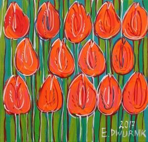 Edward Dwurnik, Pomarańczowe tulipany, 2017
