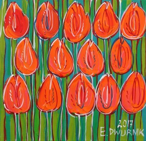 Edward Dwurnik, Orange tulips, 2017