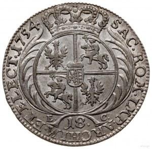ort 1754, Lipsk; szeroka głowa króla i owalny przekrój ...