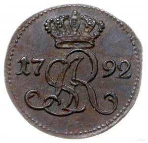 szeląg 1792, Warszawa; Aw: Monogram króla pod koroną, p...
