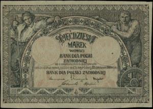 Bank dla Polski Zachodniej; 50 marek ważne do 31.12.191...