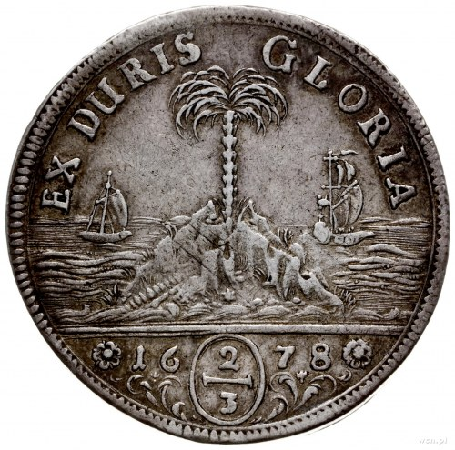 2/3 talara (gulden) 1678, Hanower; wariant z bujną fryz...