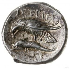 drachma IV w. pne; Aw: Dwie głowy obrócone względem sie...