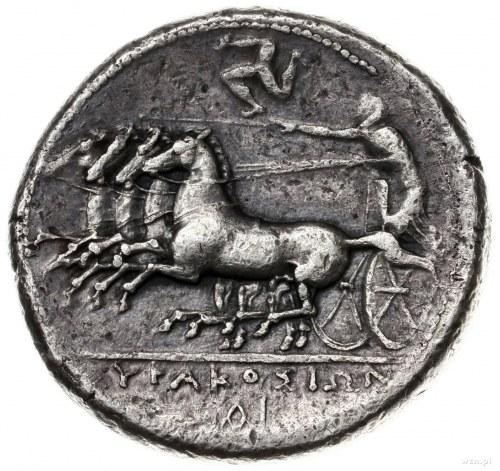 tetradrachma 310-305 pne; Aw: Głowa Aretuzy w lewo, wok...