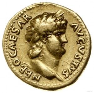 aureus 64-65, Rzym; Aw: Popiersie cesarza w wieńcu laur...