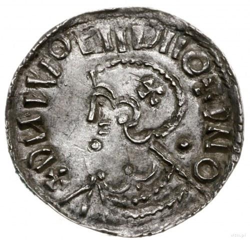naśladownictwo denara typu long cross; Aw: Popiersie w ...