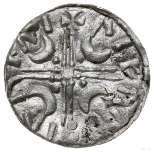 denar, mennica Lund; Aw: Chrystus siedzący na tronie na...