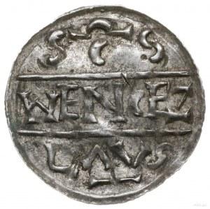 denar 1012-1034, mennica Praga; Dach kościoła, pod nim ...