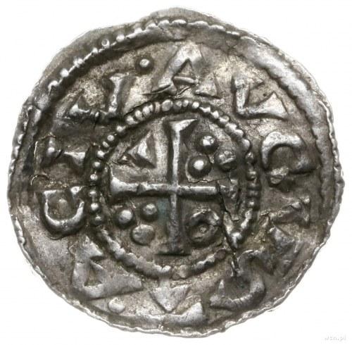 denar 1009-1024; Popiersie króla w prawo / Krzyż z kółk...