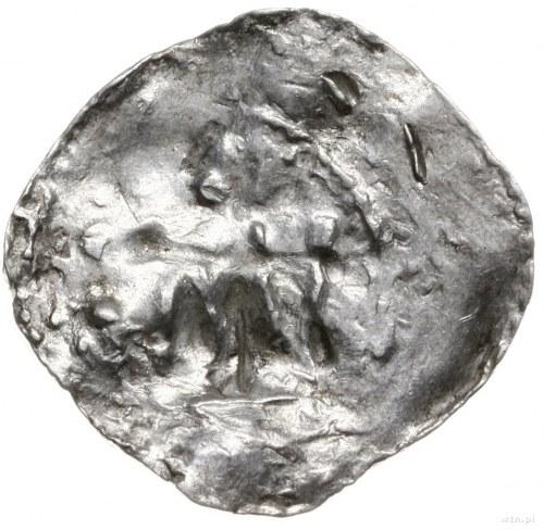 denar 990-1024; Krzyż z kulkami w kątach / W rozecie na...
