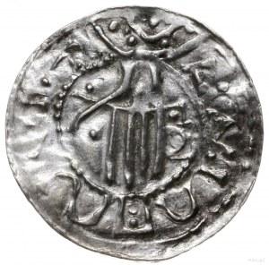 denar 1002-1024; Głowa króla w koronie w prawo / Dłoń o...