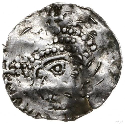 denar 996-1018; Popiersie w prawo, przed nim krzyżyk, [...