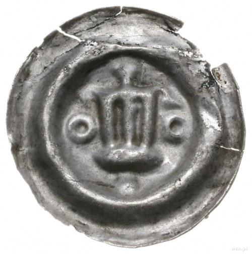 Polska?; brakteat, XIII/XIV w.; Wieża zwieńczona kopułą...
