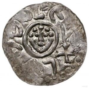 denar, przed 1107, Wrocław; Aw: Głowa z perełkową fryzu...