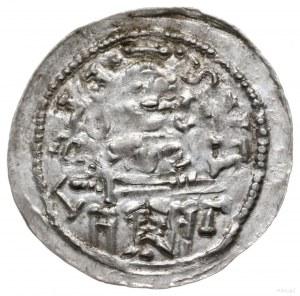 denar 1146-1157; Aw: Książę z mieczem na tronie, BOLEZL...