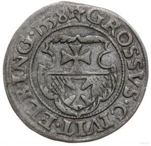 grosz 1538, Elbląg; H-Cz. 387, Kop. 7083 (R7), Pfau 130...