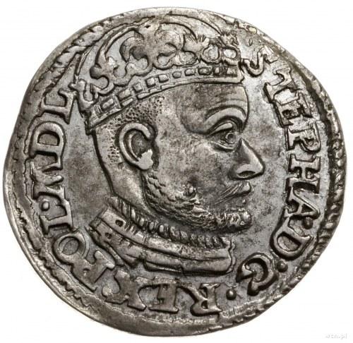 trojak 1584, Olkusz; głowa króla dzieli napis u góry, b...
