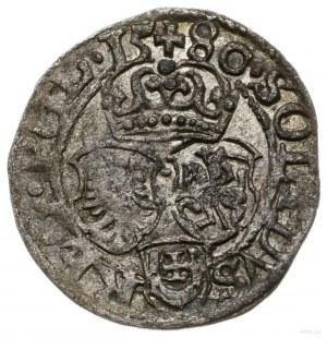 szeląg 1580, Olkusz; na awersie monogram króla, na rewe...