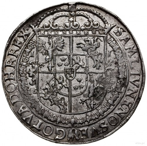 talar 1631, Bydgoszcz; Aw: Wąska półpostać króla w praw...