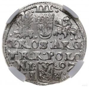 trojak 1597, Olkusz; napis na awersie SIG III, na rewer...