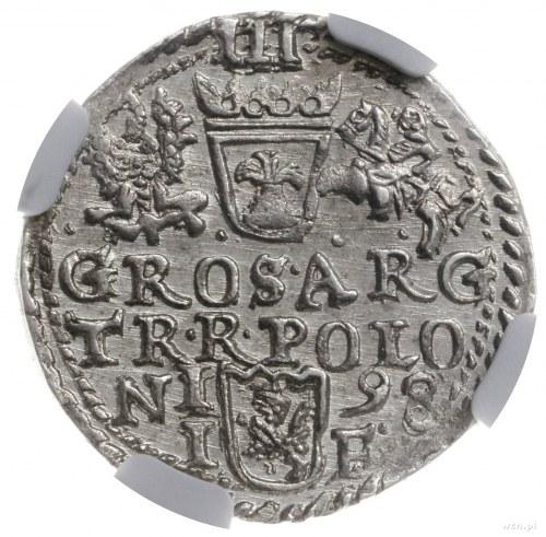 trojak 1598, Olkusz; duża głowa króla z długą brodą; Ig...