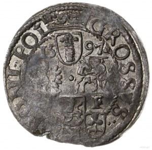 grosz 1597 Poznań; popiersie króla w koronie, pod nim w...