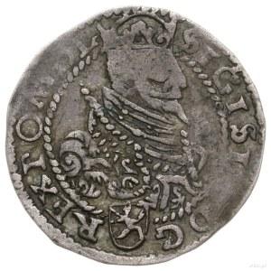 grosz 1597, Poznań; popiersie króla w koronie, pod nim ...