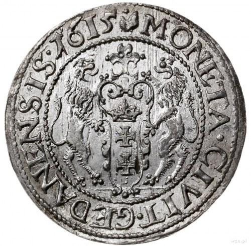 ort 1615, Gdańsk; duża głowa króla, kropka nad łapą nie...