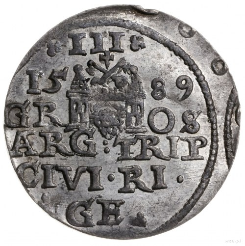trojak 1589, Ryga; lilia u dołu rewersu po lewej; Iger ...