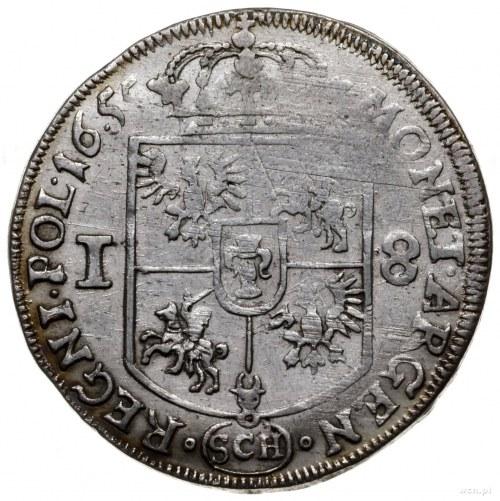 ort 1655, Kraków; przebitka napisu IAON na IOAN, litery...