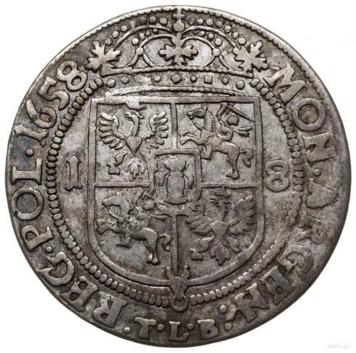 ort 1658, Kraków; na awersie IO CAS D G REX POL & SV M ...