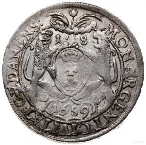 ort 1659, Gdańsk; odmiana z końcówką GEDANENS, pod lwam...