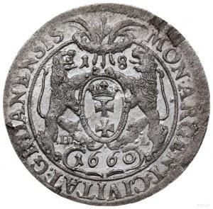 ort 1660, Gdańsk; odmiana z popiersiem króla z widoczny...