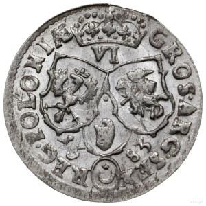 szóstak 1683 TLB, Bydgoszcz; popiersie w wieńcu laurowy...